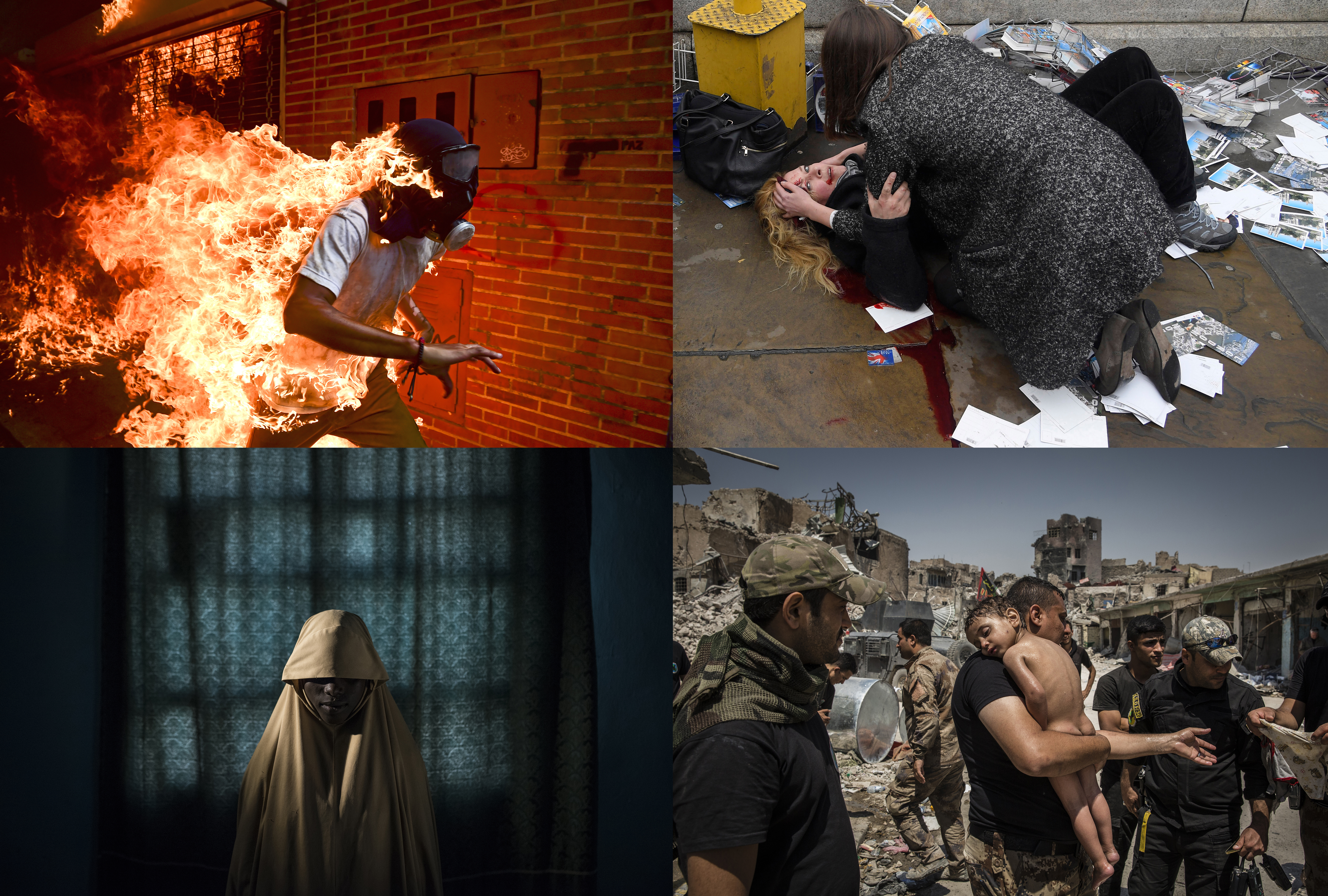 Credits:<br /> Top left to right: Ronaldo Schemidt, Agence France-Presse; Toby Melville, Reuters.